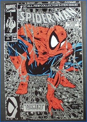 "MARVEL SPIDER-MAN VOL. 1 #1 SILVER ISSUE, McFARLANE ART 1990 ""TORMENT"" 1 OF 5."