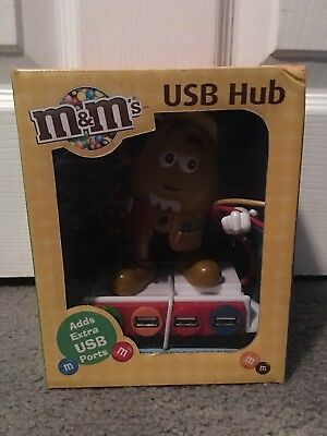 M&M's USB Hub Computer Powered 4 Port USB NEW Yellow M&M Collectible Free Ship
