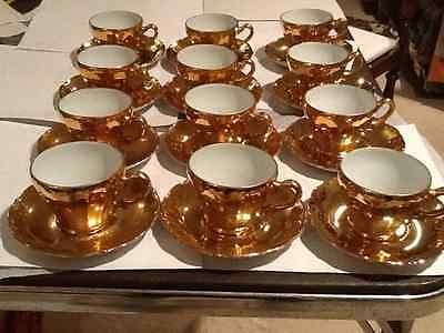 Vintage Sterling China Made In Japan 24 Pc Gold Plated 12 Coffee & 12 Saucer Set