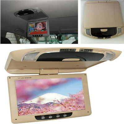 9'' Screen Flip Down Car Roof Mount Monitor Overhead Color Display Player 12-32V