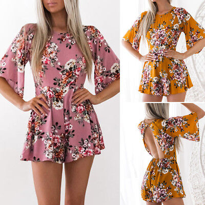 Hot Women Backless Party Floral Jumpsuit Playsuit Bodycon Romper Shorts Clubwear