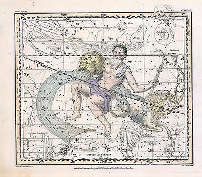 1822 ASTROLOGY ATLAS Print poster old CAPRICORN constellation AQUARIUS ZODIAC 29
