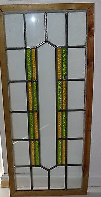 Antique Leaded English Stained Glass Huge Window Wood Frame England Old House 59
