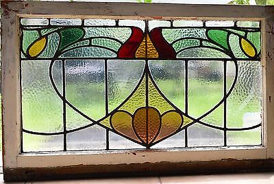Antique Leaded English Stained Glass Large Art Nouveau Window  England House 57