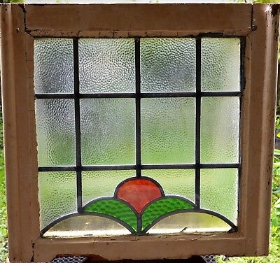Antique Leaded English Stained Glass Window Wood Frame England Old House 53