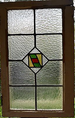 Antique Leaded English Stained Glass Window Wood Frame England Old House 52