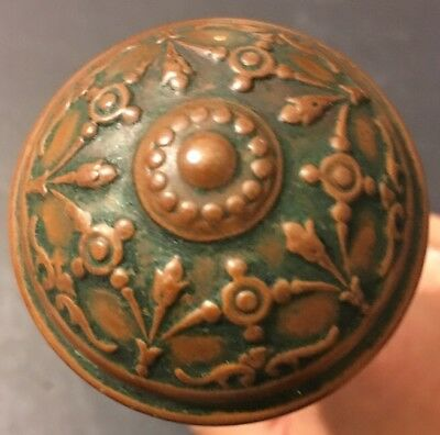 Antique Victorian Eastlake Set Of Bronze Brass Door knobs Geometric Design Pair