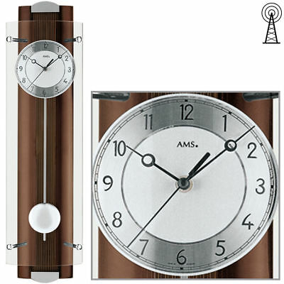 AMS Wall Clock 5259/1 RC with Pendulum Solid Walnut Lacquered