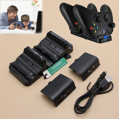 Dual Charging Dock Charger + 2X Rechargeable Batteries For XBOX One Controller