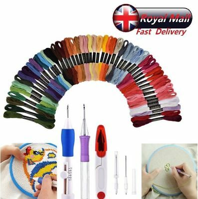 UK Send Embroidery Stitching Punch Needle Set Stainless Steel + 50 Color Threads
