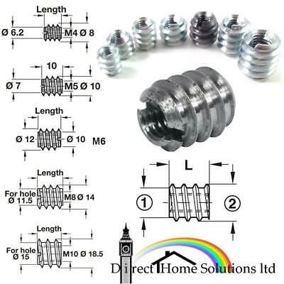 M4 M5 M6 M8 M10 Threaded Insert Screws In Sleeve Bushing Slot Drive Furniture