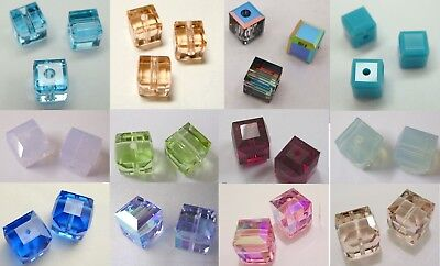 SWAROVSKI CRYSTAL ELEMENT #5601 CUBE SPACER BEAD ~ Many Color & Size