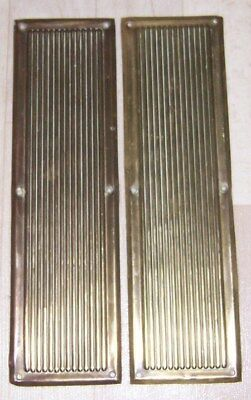 1 Pair Of Used Vintage Reclaimed / Salvaged Brass Ribbed Door Finger Plates