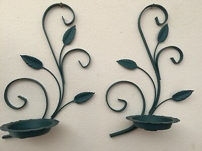 PAIR Vintage Shabby Metal Iron Flower Pot Plant Candle Holders Wall Garden Decor