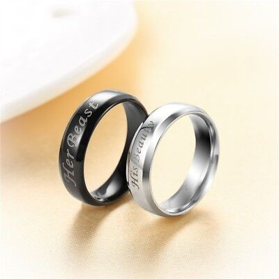 Her Beast His Beauty Fashion Stainless Steel Couple Rings Black Valentine's Day