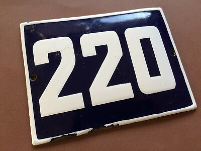 ANTIQUE VINTAGE ENAMEL SIGN HOUSE NUMBER 220 BLUE DOOR GATE STREET SIGN 1950's
