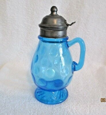 "EAPG Blue Syrup Pitcher ""Rope Inverted Thumbprint"" 7"" tall Ca 1885-1900"