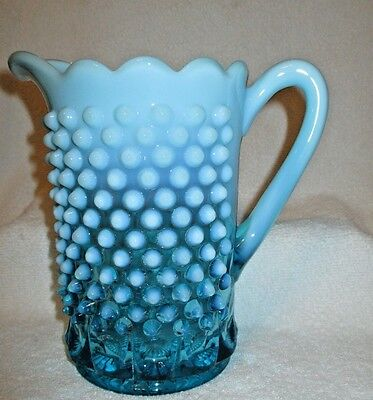 "Blue Opalescent Hobnail 7 3/4"" Pitcher Hobbs Brockunier/Northwood EAPG BEAUTY"