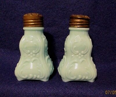 Victorian EAPG Blue Opaque Scroll Footed Salt & Pepper Shakers