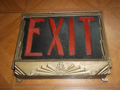 ART DECO Antique EXIT SIGN 1930s Theater CAST IRON Electric LIGHT BULB Beautiful