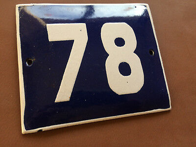 ANTIQUE VINTAGE ENAMEL SIGN HOUSE NUMBER 78 BLUE DOOR GATE STREET SIGN 1950's