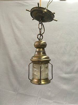 Vtg Brass Maritime Nautical Porch Ceiling Light Old Jelly Jar Fixture 811-17E