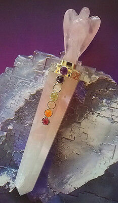 "Large Hand Carved 5.5"" Rose Quartz Crystal Silver Angel Wand With Chakra Stones"