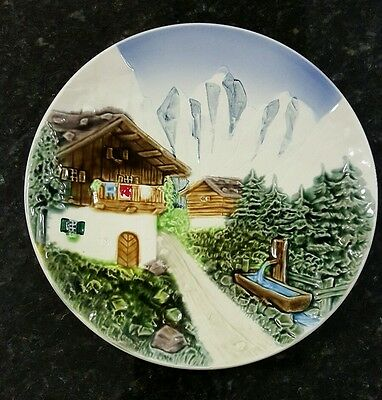 Vintage Porcelain Wall Plate with Bavarian Alps Scene in Relief Western Germany