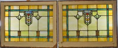Antique Arts & Crafts Style Leaded Slag Glass Window With Chevron Detail