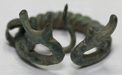 ANCIENT VIKING BRONZE Classic  FIBULA BROOCH Men's Jewelry dragon head.