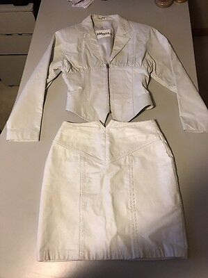 Vintage Wilsons Leather Genuine Leather Skirt SZ8 and Jacket White SZ M