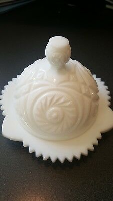 Antique Vintage White Milk Glass Round Butter Dish Domed Lid...no flaws