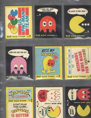 Vintage 1980 Fleer Pac-Man Stickers Blue  Backs  Lot Of 9 Different  Lot # 5