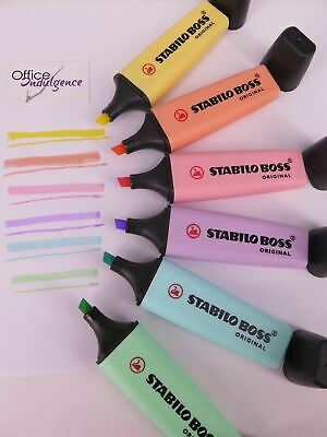 6 Pack PASTEL Stabilo Boss Highlighters Assorted Colours 49693S^