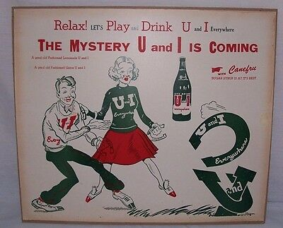 """1940's 1950's U and I Soda Large Poster Great Color 22"""" x 19"""" Advertising Sign"""