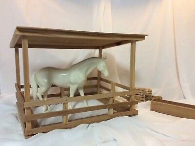 Vintage 1980s JCPenny Wood Horse Stall or Shed for Model Horses, Breyer, etc.