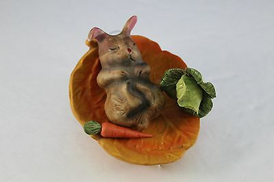 4 Piece Porcelain Sleeping Bunny Rabbit With Cabbage and Carrot on Bed of Leaves