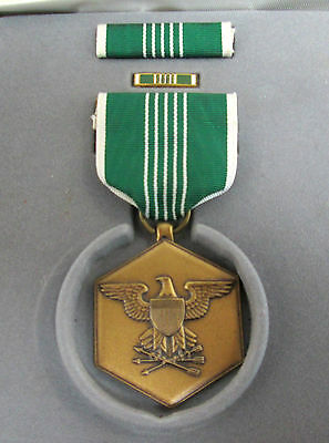 Military Merit Medal w Green White Ribbon & Bar Pin Vintage WWII In Box