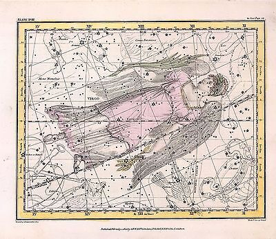 1822 ASTROLOGY ATLAS Print poster old VIRGO the VIRGIN constellation ZODIAC 26