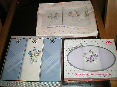 Three Boxes Of Ladies Handkerchiefs..embroidered,,new In Boxes Fab Gift