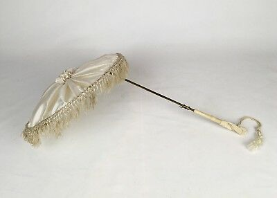 Antique 1800s Hand carved Bovine Bone & Silk Ladies Victorian Parasol  Umbrella