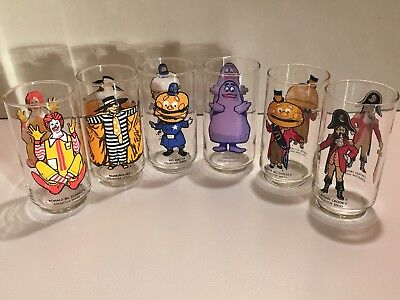 McDonald's 1970's Original Collector's Series Drinking Glasses Full Set of 6