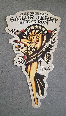 """Sailor Jerry Spiced Rum Pinup Girl Metal Sign Tattoo 33"""" American Eagle Flag"""