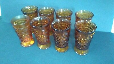 Vintage Indiana Glass Whitehall Amber Footed Goblets, Set of 8