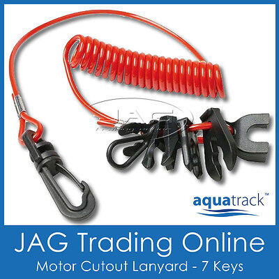 JET SKI RED SAFETY LANYARD & CLIPS- Boat/Outboard/OMC/Merc/PWC/Yamaha Waverunner