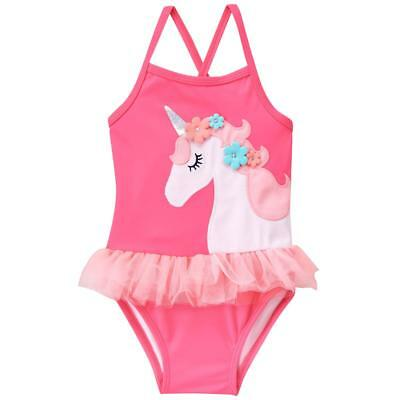 Gymboree Girl Swim 1-Piece Unicorn Tutu Swimsuit 18 24 2T UPF 50+