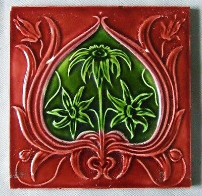 Red  & Green Antique English Art Nouveau Tile Original Vintage Ceramic