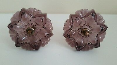 2  Beautiful Purple Amethyst Glass flower curtain tiebacks Victorian style