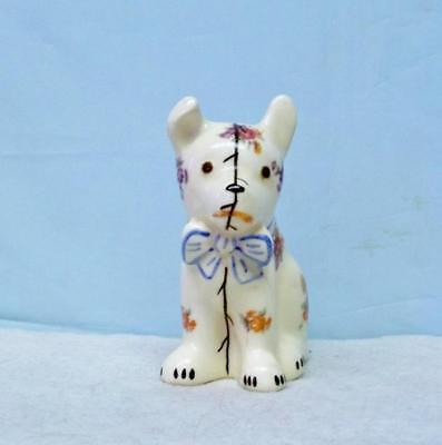 """Rose Decal Hall Pottery Dog Planter ~ Hand Painted Features  4 1/2"""" High Mint"""