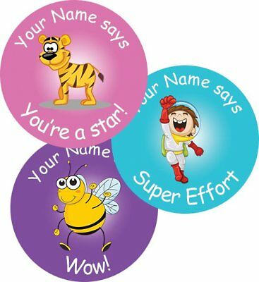 Teacher Merit Stickers - 25mm assorted images, Personalised Name